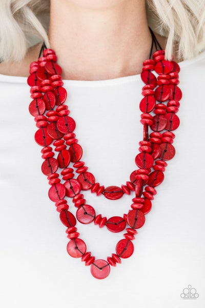 Pre-Sale Barbados Bopper - Layers of Red Wood Beads Necklace & Earrings