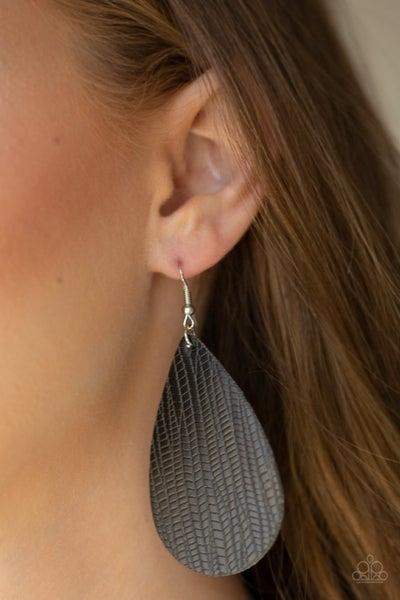 Natural Resource - Black Leather Earrings
