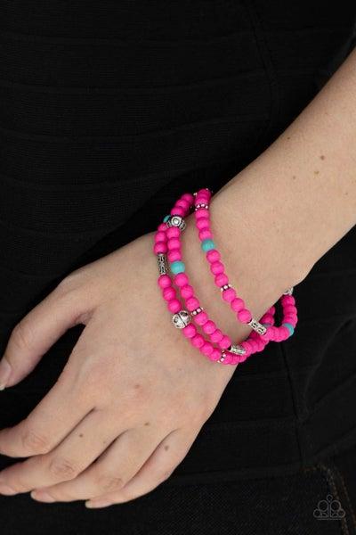 Desert Decorum - Pink, Turquoise and Silver Beaded Bracelet