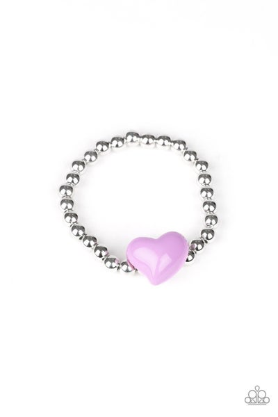 Silver Stretchy Beads with a Large Colorful Heart Bracelet