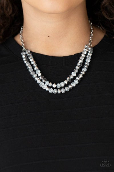 May The FIERCE Be With You - Silver strands of Silver & clear Beads Necklace & Earrings