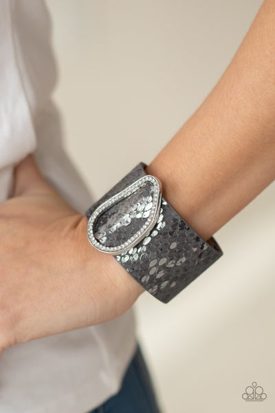 HISS-tory In The Making - Silver Phythin print leather with Rhinestones Snap Bracelet