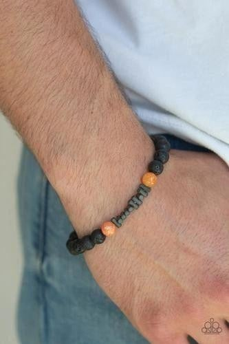 Courage - Black Lava Bead with Orange Moonstone Beads Bracelet