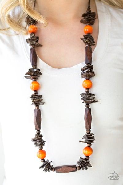Pre-Sale Cozumel Coast - Orange & Brown Wooden Beaded Necklace & Earrings