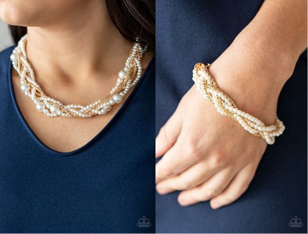 Pre-Order Royal Reminiscence & Vintage Variation - Gold braided with Bubbly White Pearls - Necklace, Earrings & Bracelet Set