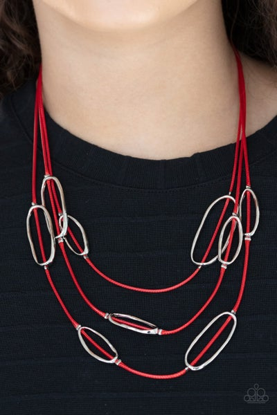 Check Your CORD-inates - Red trio of cords with hammered silver ovals Necklace & Earrings
