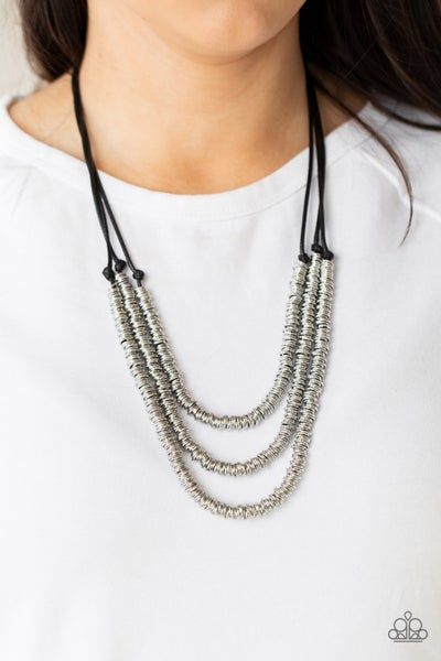 RING to Reason - Black layerd cordage covered in Silver Rings Necklace & Earrings