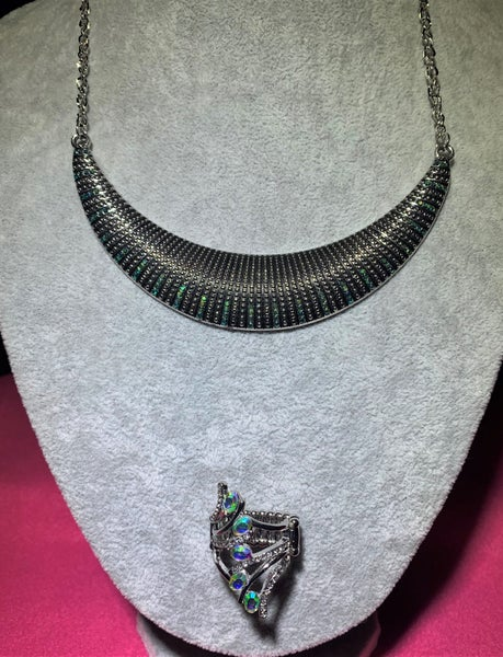 Modern Day Moonshine & Majestic Marvel - Silver with Iridescent Sparkle Rhinestones Necklace, Earrings & Ring Set