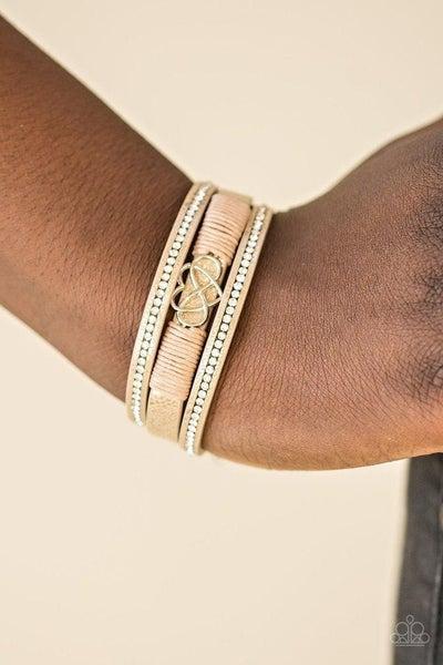 Hustlin Heart - Metallic Peach Leather with Infinity Heart Center Bracelet