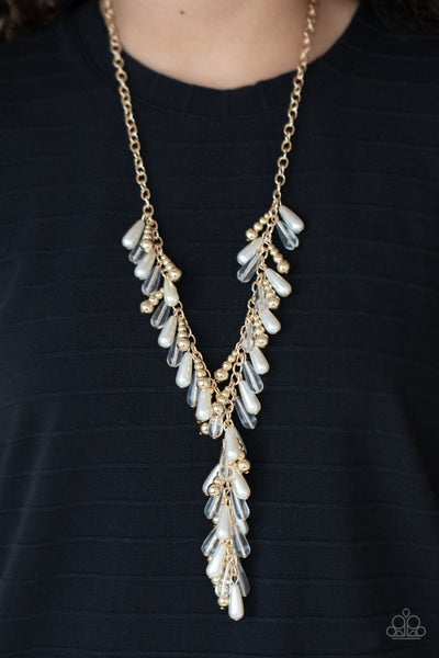 Dripping With DIVA-ttitude - Gold with Teardrop Glassy & Pearl Beads into a Tassel Necklace & Earrings