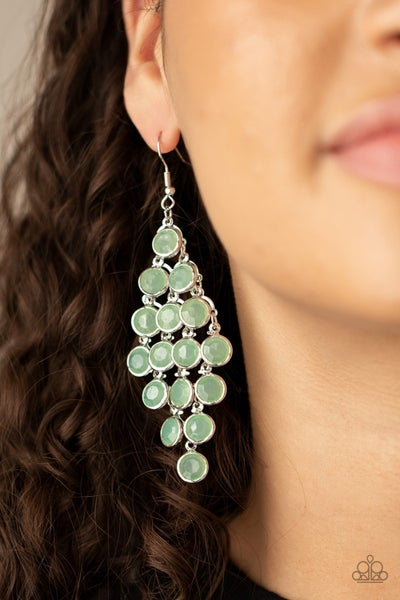 With All DEW Respect - Green Moonstone Chandelier Earrings