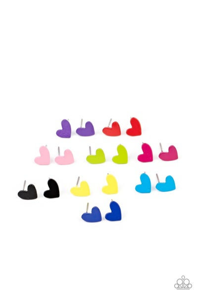 Assorted colored Heart Earrings for Kids or the Kid at Heart