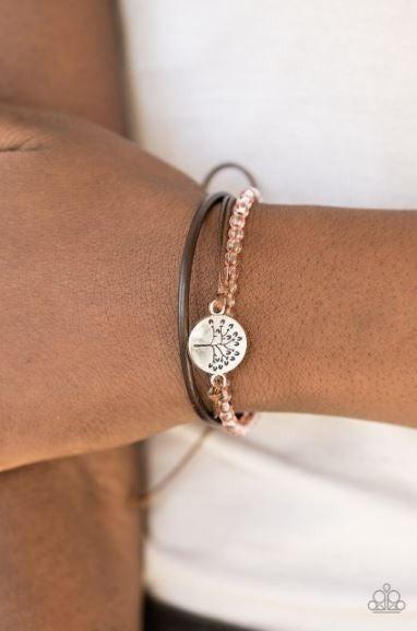 Treetop Treasure - Brown cordage, Orange Beads & Silver Tree of Life Charm Pull-Tight Bracelet