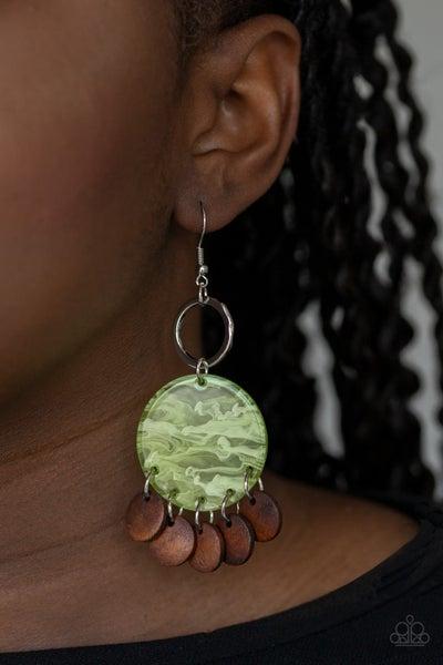 Beach Waves - Green Acrylic with Wood Earrings