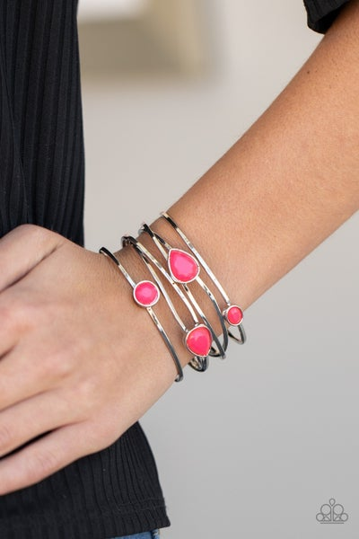 Fashion Frenzy - Silver Wires with Pink Beads Cuff Bracelet