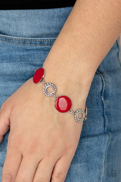Garden Regalia - Red with Studded Silver circles & Shimmery Floral Accents Bracelets