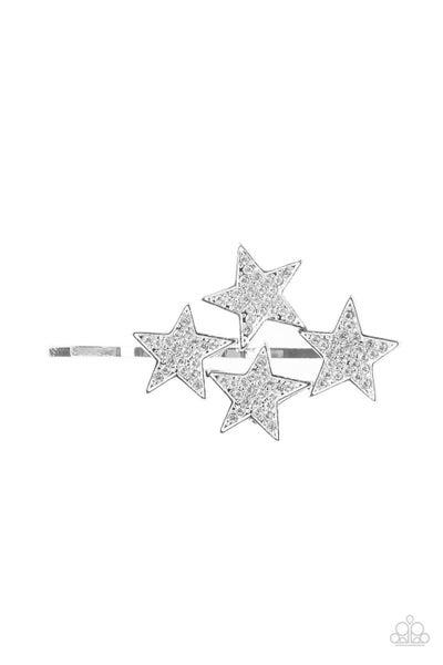 Pre-Order Stellar Celebration - Silver with White Rhinestones Stars Bobby Pins