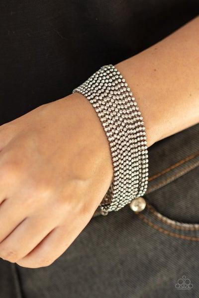 I Woke Up Like This - Gunmetal strands of White Rhinestones Bracelet