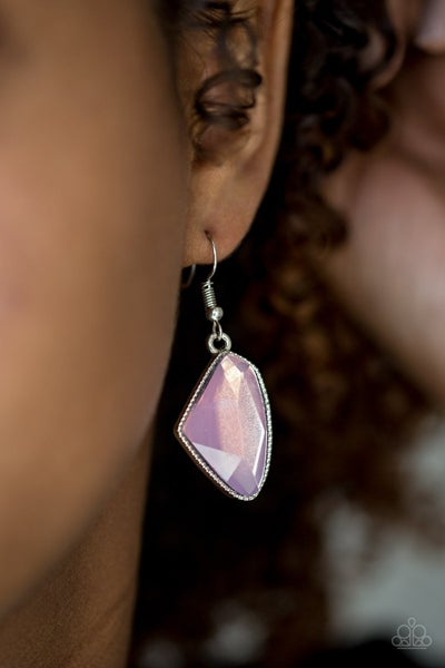 Mystic Mist - Pink Iridescent Moonstone in a Silver frame Earrings