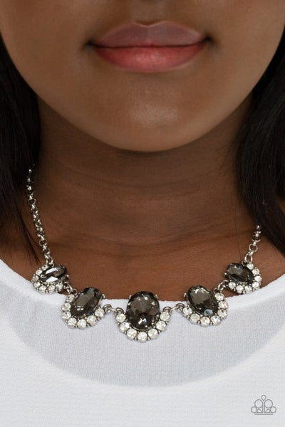 Pre-Order The Queen Demands It - Silver with smoky gems & glassy white Rhinestones Necklace & Earrings