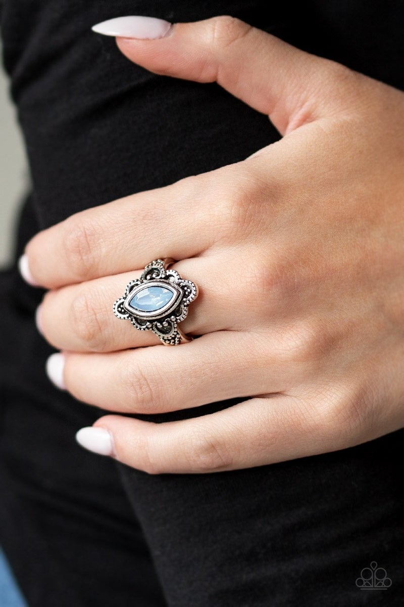 Glass Half-Colorful - Silver with Blue Opalescent Gem Ring