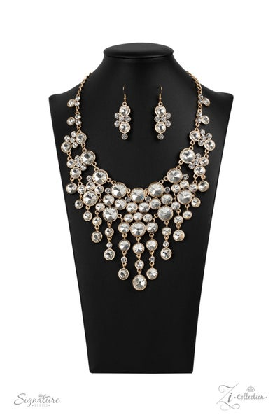 The Rosa - Gold with White Rhinestones Clustered & then Dripping Down Necklace - 2020 Zi Collection