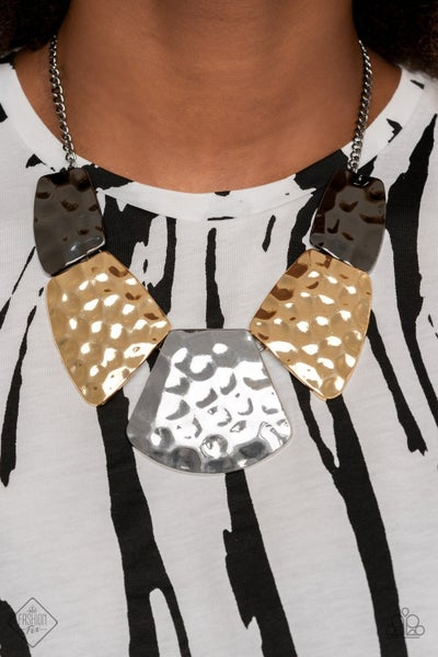 HAUTE Plates - Silver, Gunmetal & Gold Necklace & Earrings