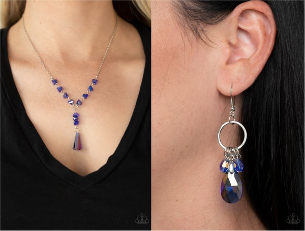 Olympian Oracle & Unapologetic Glow - Iridescent Blue Necklace, Earring & Earring Upgrade Set