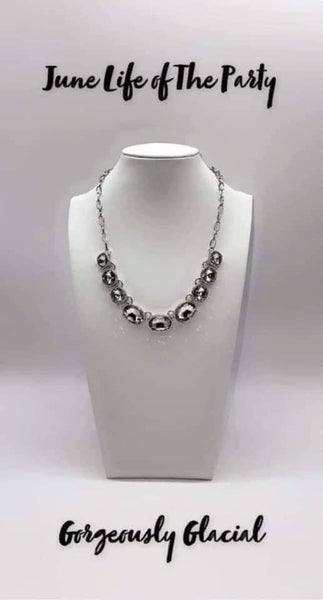 Gorgeously Glacial - Silver with White Rhinestones Necklace & Earrings