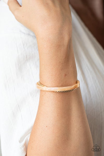 Pre-Sale - HAUTE On The Trail - Gold marble-like Acrylic Cuff Bracelet