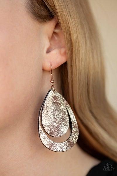 Fiery Firework - Metallic Copper Leather Earrings