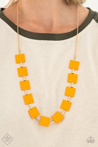 Pre-Sale Hello, Material Girl - Gold with Orange geometric squares Necklace & Earrings