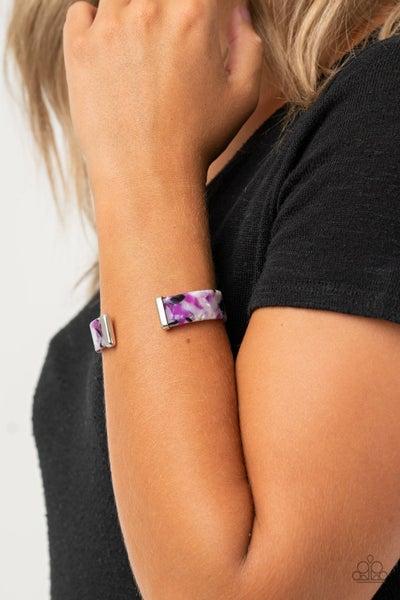Pre-Sale - It's Getting HAUTE In Here - Purple, Black & White Acylic Cuff Bracelet
