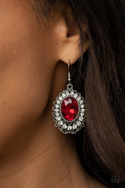 Pre-Sale Glacial Gardens - Silver with Fiery Red Gem surrounded by Rhinestones Earrings