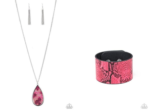 Artificial Animal & Its a Jungle Out There - Pink Python Print Necklace & Snap Bracelet Set