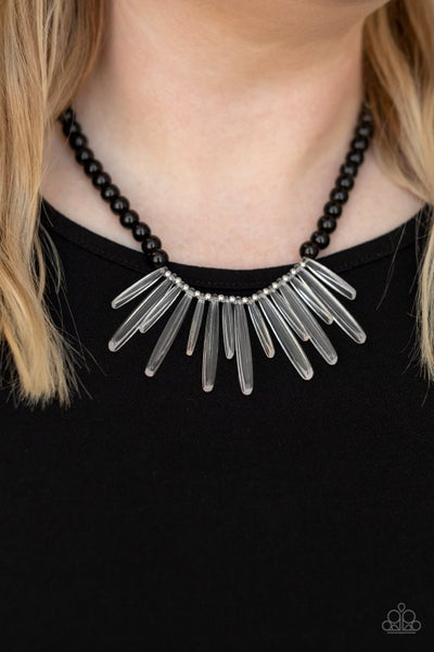 Icy Intimidation - Black Beads with Acrylic Icicles Necklace & Earrings