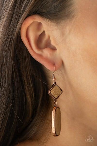 You WOOD Be So Lucky – Wood Grain framed in Copper Earrings