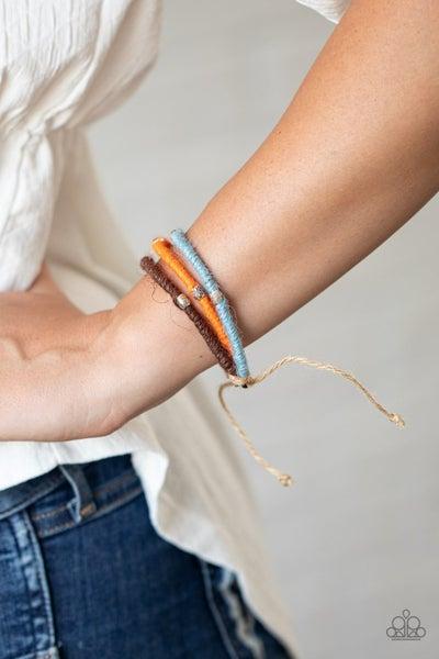 Beach Boundaries - Brown, Blue & Amberglow cordage Pull-Tight Bracelet