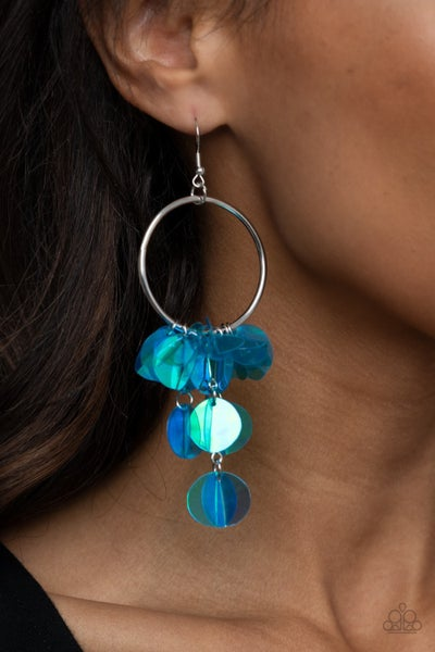 Holographic Hype - Iridescent Blue Sequins swing from Silver Hoop Earring