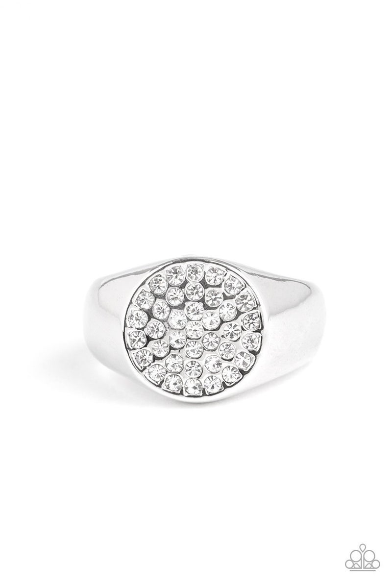 Conquest - White Rhinestones encrusted in this Silver classy Unisex adjustable Ring