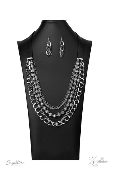 The Arlingto - Leather Straps holding layered strands of Silver Chains Encrusted with Rhinestones and Gunmetal Chains Necklace - 2020 Zi Collection