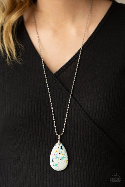 Extra Elemental - Silver with Multi - White Glittery Teardrop Stone Necklace & Earring