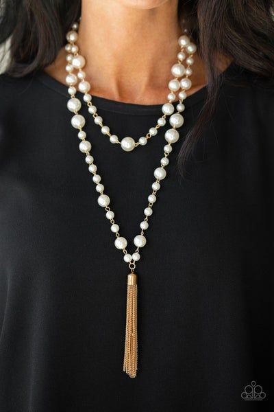 Social Hour - Gold strands with bubbly white Pearls Necklace with Earrings