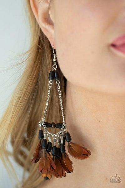 Haute Hawk - Silver with Black Beads above small Brown Feather Earrings