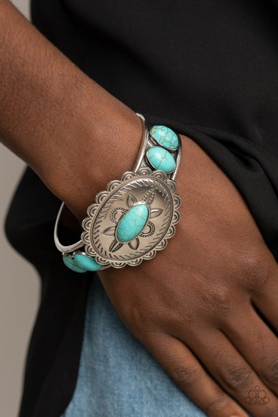 Pre-Order Canyon Heirloom - Turquoise stones on a Silver Floral Pattern Cuff Bracelet