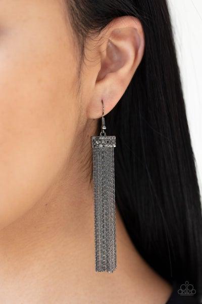 Twinkling Tapestry - Gunmetal Fringe with Hematite Stones Earrings