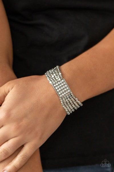 Star-Studded Showcase - White Glassy Rhinestones centerpiece on Silver cubed Strands Stretch Bracelet