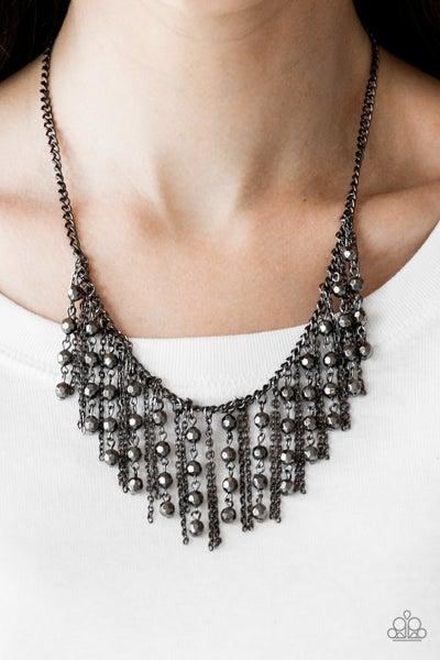 Rebel Remix - Gunmetal Fringe with Gunmetal Beads Necklace & Earrings