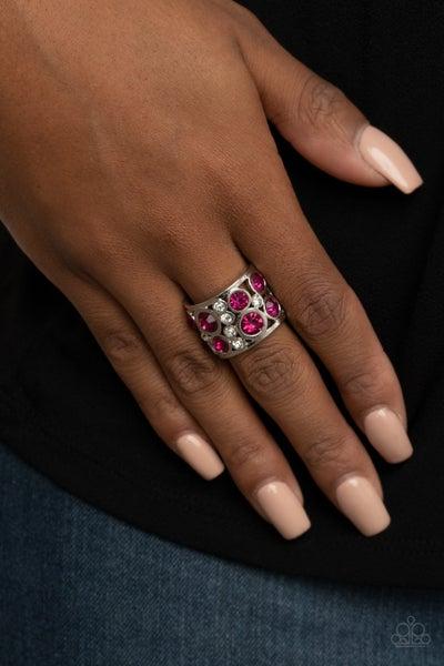 High Roller Royale - Pink & White Rhinestone Adjustable Ring
