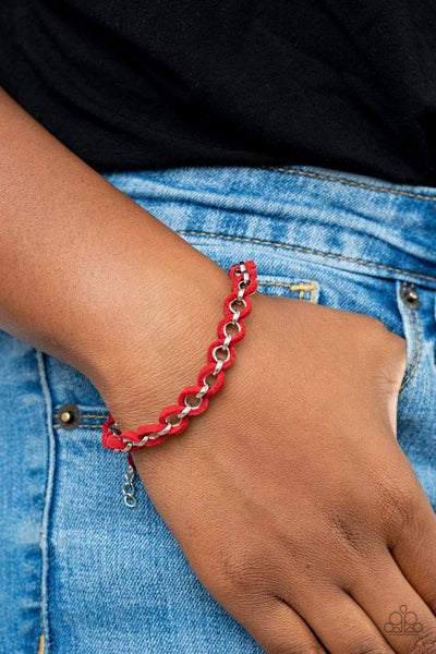 Pre-Sale - SUEDE Side to Side - Red Suede with Silver braded Pull Tight Bracelet